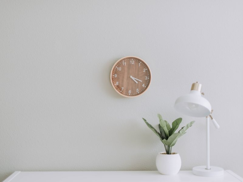 A clock on a wall with a plant and table lamp underneath